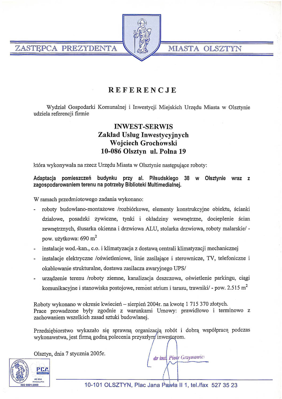 Referencje Inwest Serwis Firma Budowlana Olsztyn